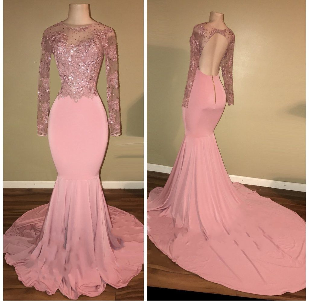 Mermaid Shiny Backless Beaded Long-Sleeves Pink Prom ...