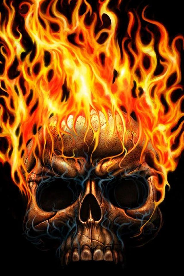 Skull on Fire Wallpaper  #skull #skeleton #iphone #wallpaper