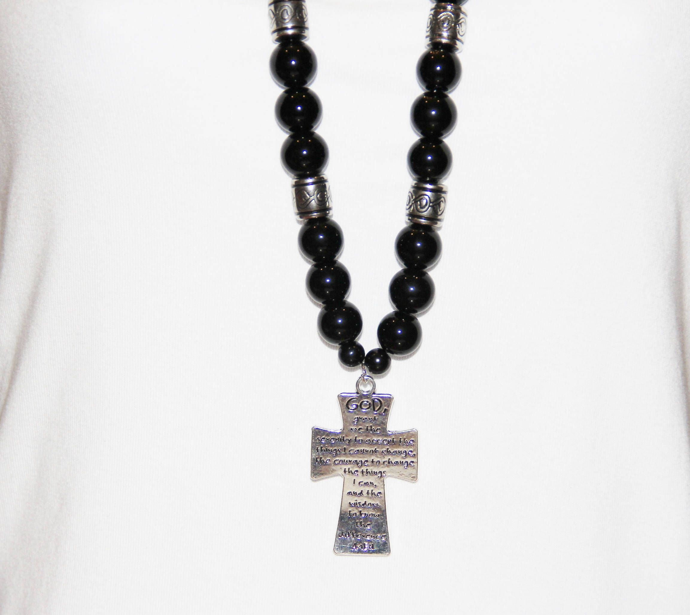 prayer serenity tag dog w bronze cross bronzecross necklace