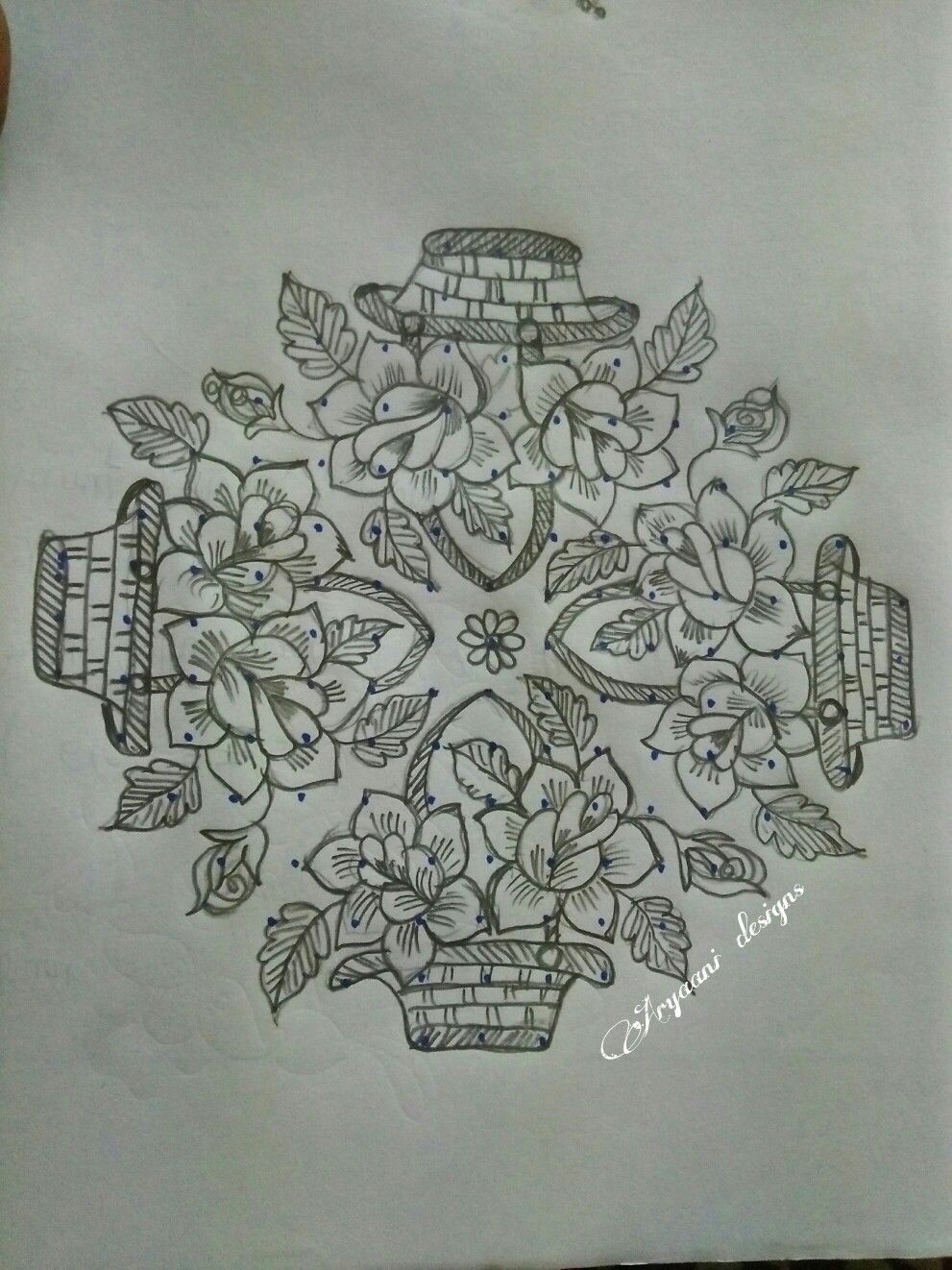 Pencil drawings · rose baskets flower rangoli kolam rangoli indian rangoli rangoli with