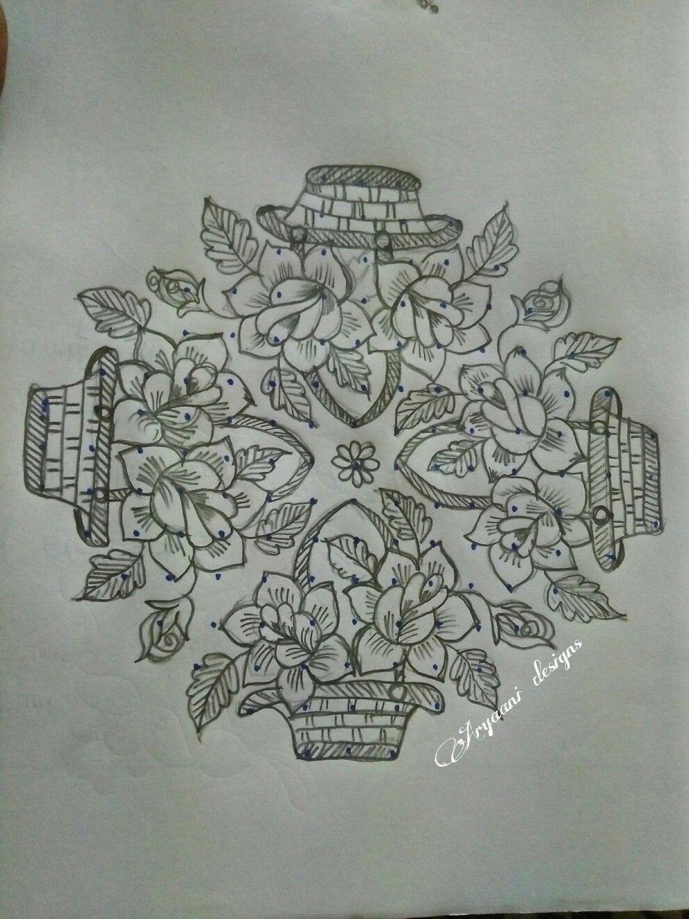Rose baskets... Rangoli patterns, Rangoli designs flower