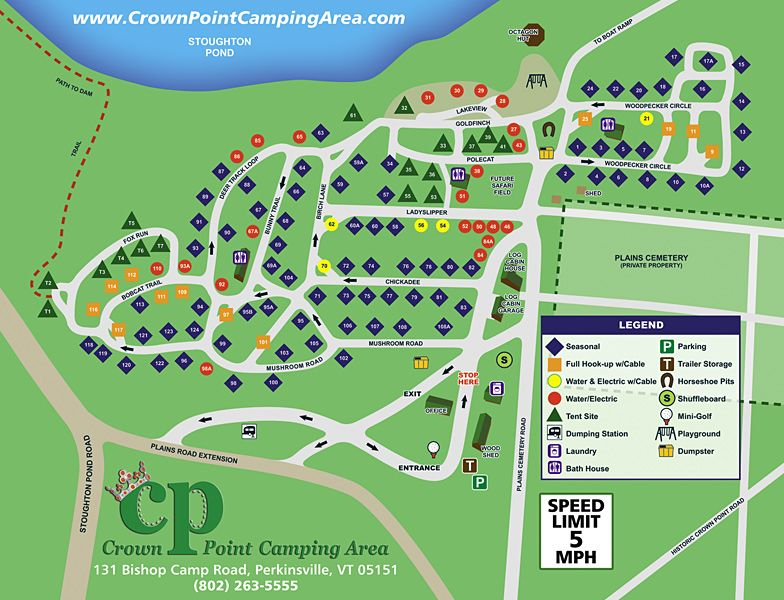 Crown Point Camping Area Site Map Rules Camping Area Rv Parks And Campgrounds Campground