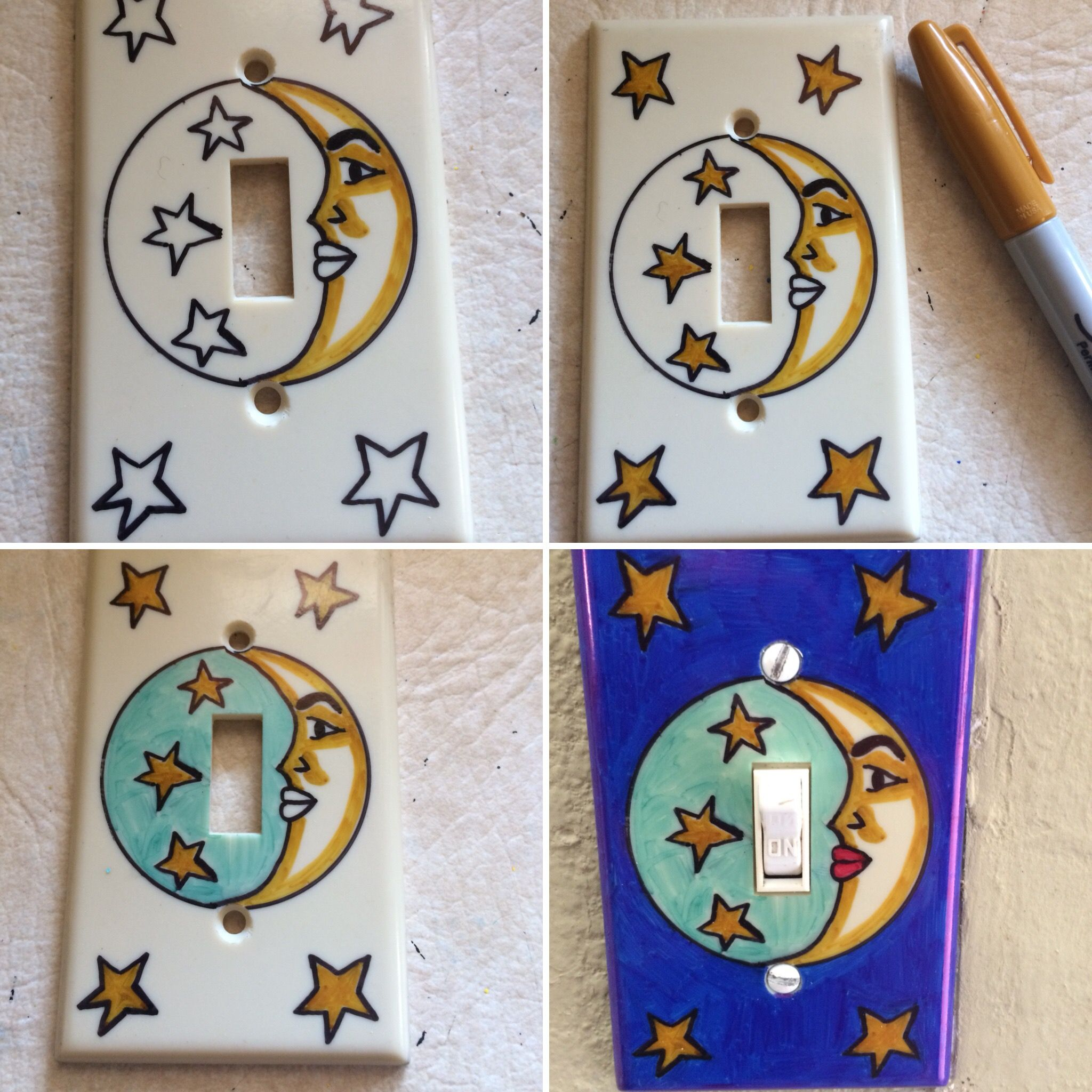 Made My Own Talavera Style Wall Switch Plate Cover With Sharpies