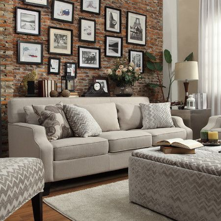 Light Grey Fabric Upholstered New Sloped Track Arm Living Room Lounge Couch  Sofa