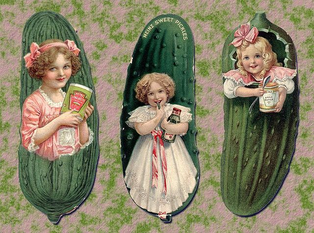 Victorian Heinz Pickle advertising bookmarks by Mirage Bookmark, via Flickr