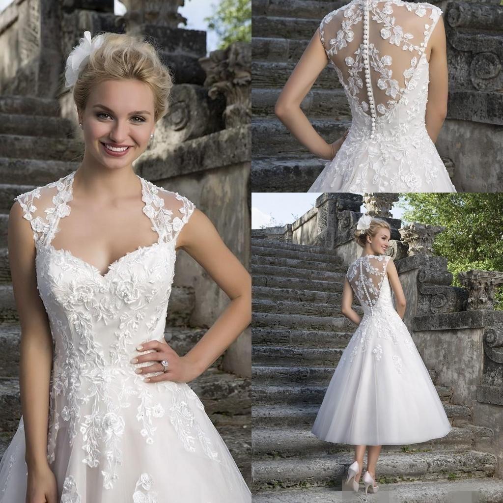 2016 Short Beach Wedding Dresses Lace Applique Sheer