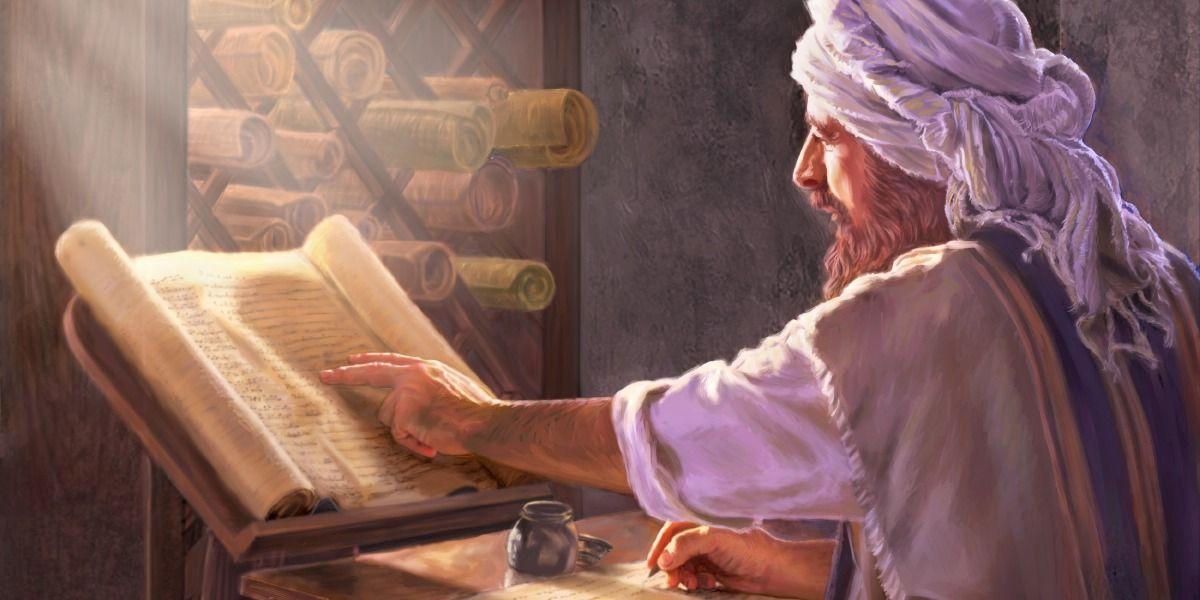 Um copista da Bíblia fazendo seu trabalho