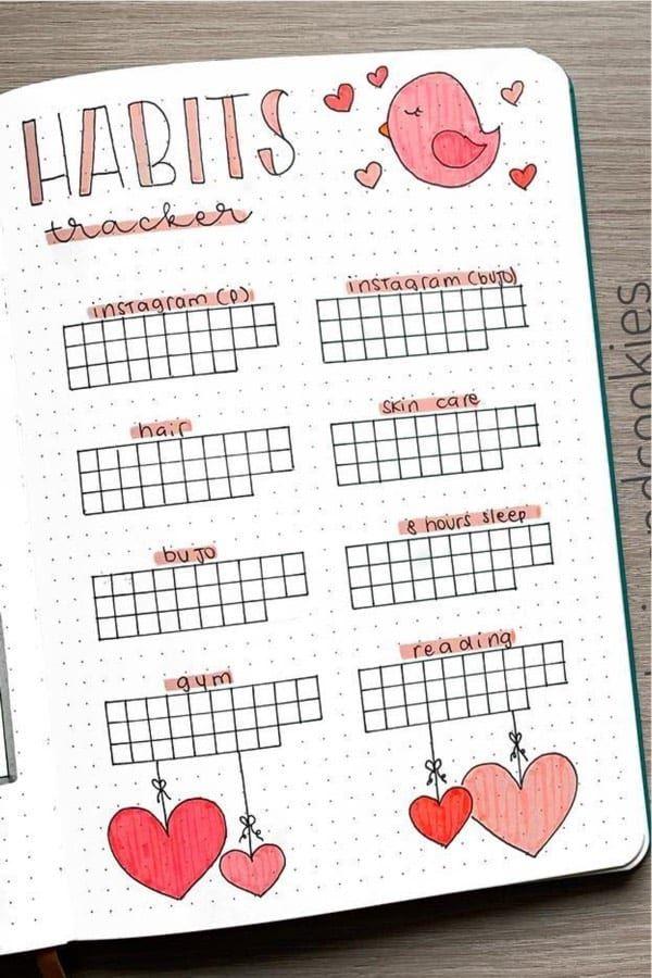 20+ Best Heart Themed Bullet Journal Spreads For 2020 - Crazy Laura