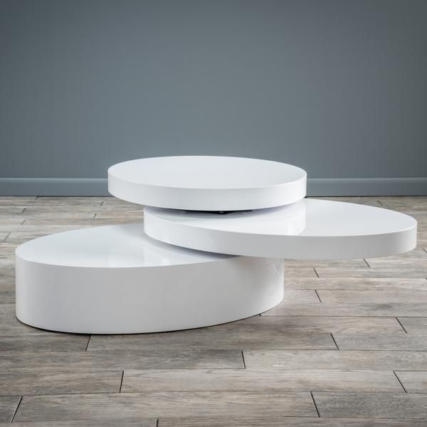 Beau Kendall Oval Mod Swivel Coffee Table