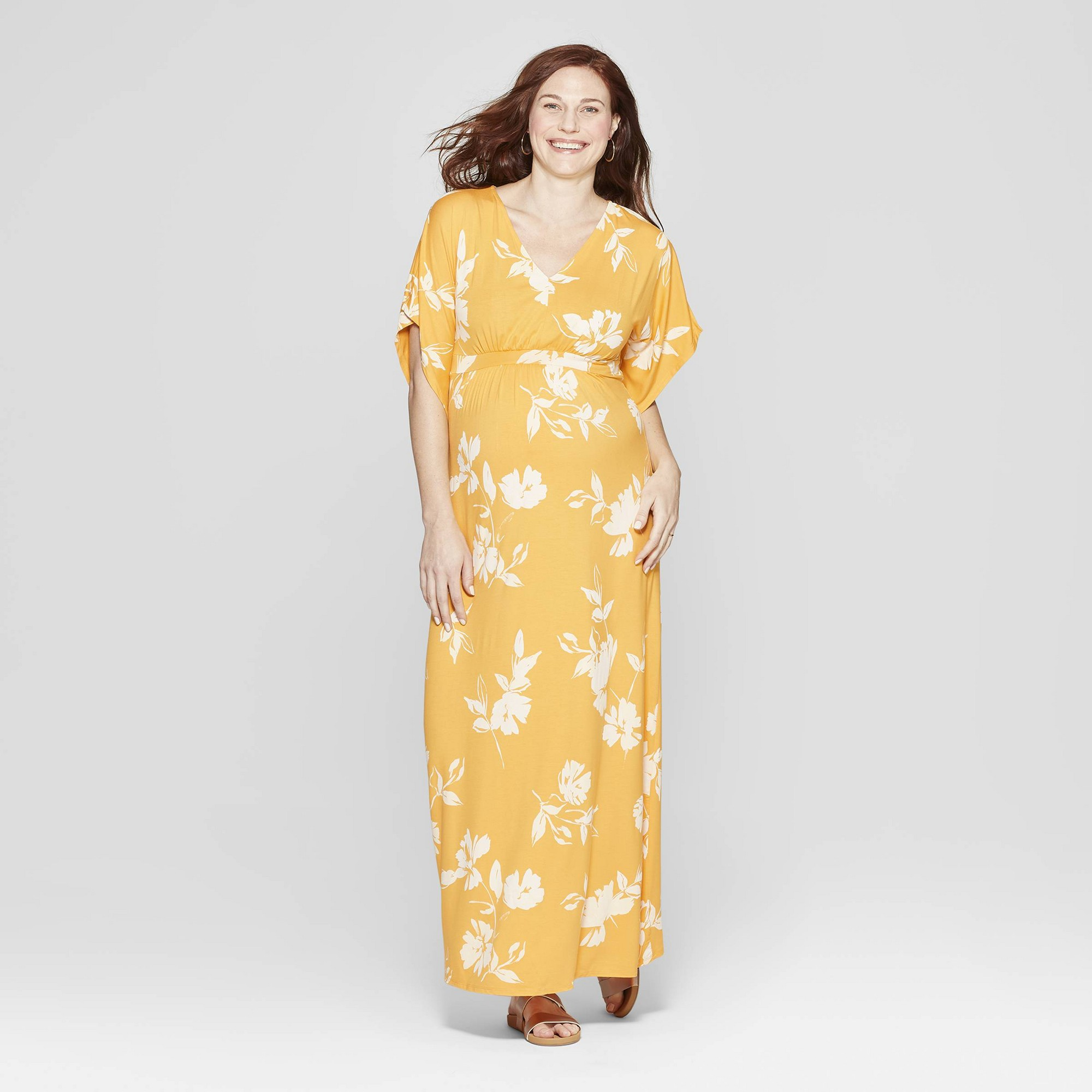1af9be5e22997 Maternity Floral Print Kimono Short Sleeve Maxi Dress - Isabel Maternity by  Ingrid & Isabel Yellow M, Infant Girl's