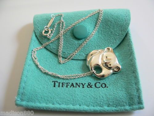 0391b823f Tiffany Co Sterling Silver Koala Necklace Pendant Charm Chain RARE  Excellent | eBay