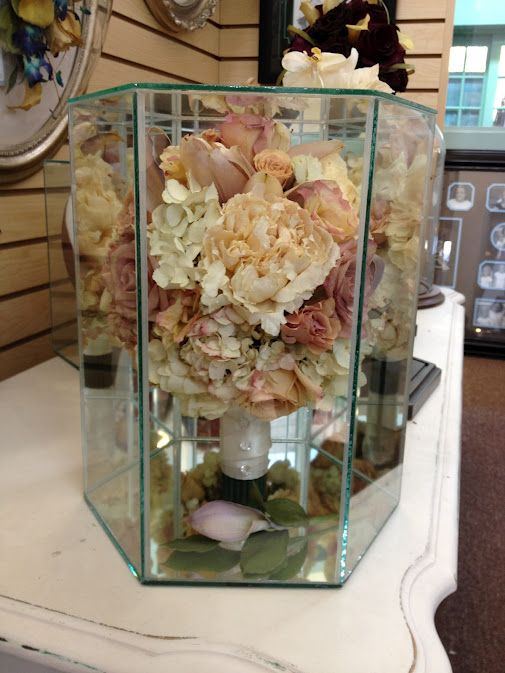 Preserved bridal bouquet real flowers from a wedding, dried and ...