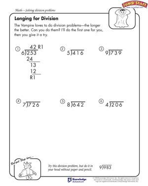 Longing for Division - Free Division Worksheet for Kids ...