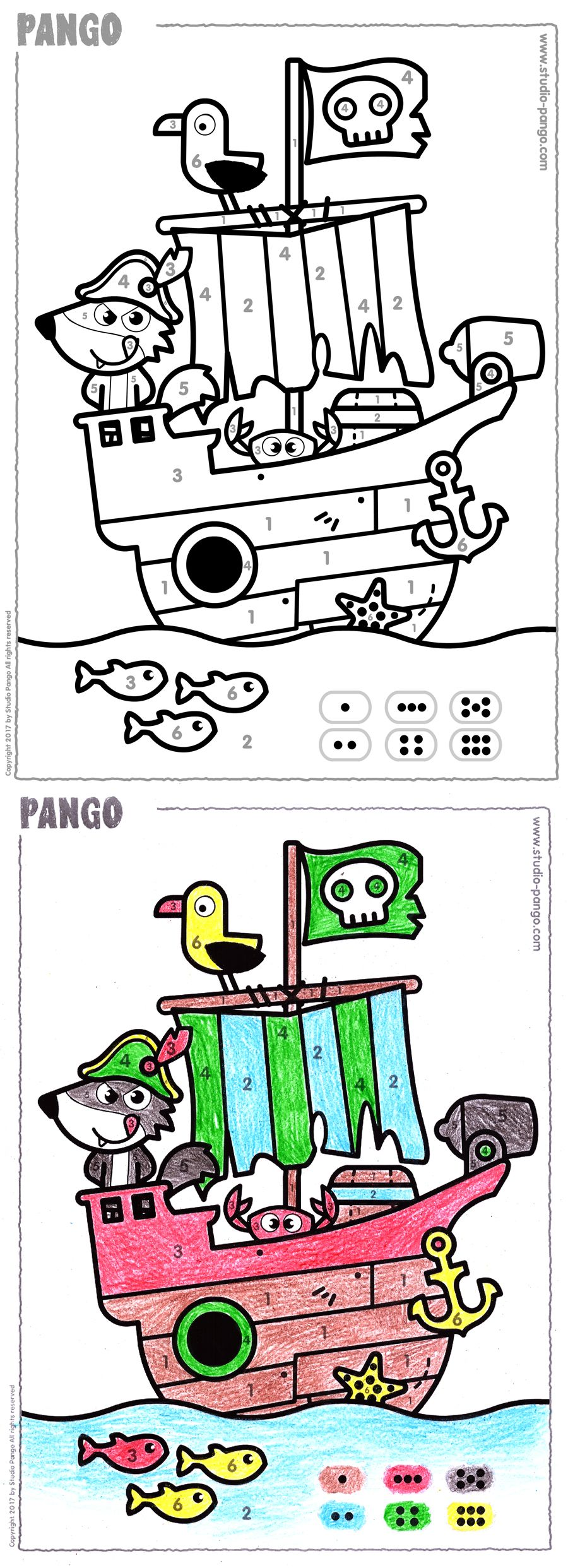 Pirate Ship Color By Numbers Coloring Coloriage Code Numbers 6 Numbers Preschool Printable Activities For Kids Pirate Theme [ 2484 x 900 Pixel ]