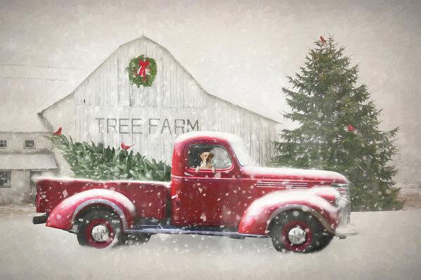Christmas Tree Shopping 3 Art Print By Lori Deiter In 2020 Christmas Tree Shop Christmas Red Truck Christmas Decor Diy