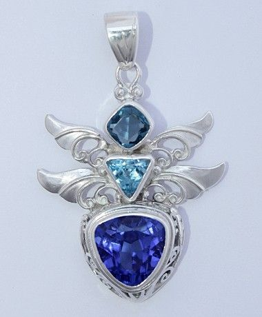 Gem Stone Energy Descriptions:  Dragonfly: Seeing Through Illusion,  Blue Topaz: Manifestation & Balance,  London Blue Topaz: Manifestation, Balance,  Double Wings: Within Partnership,  Sterling Silver Gemstone Pendant.