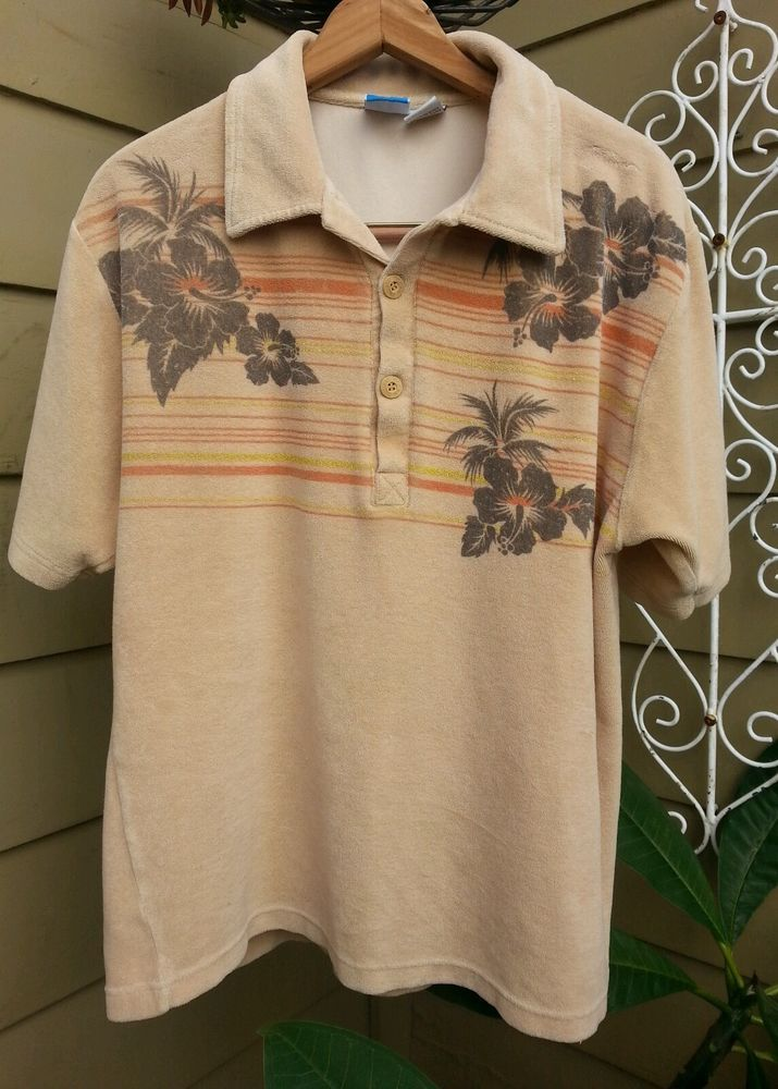 23b208c8 Rare Vintage 70s OP Ocean Pacific Terry Cloth SURF Skateboarder Polo T-shirt  LG