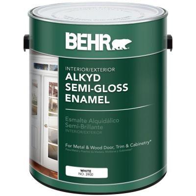 BEHR 1-gal  White Alkyd Semi-Gloss Enamel Interior/Exterior