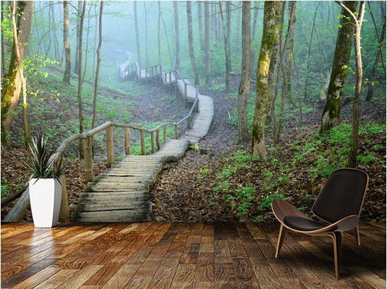 Günstige Kundenspezifische natürliche tapete, Nebel Wald Treppenhaus ...