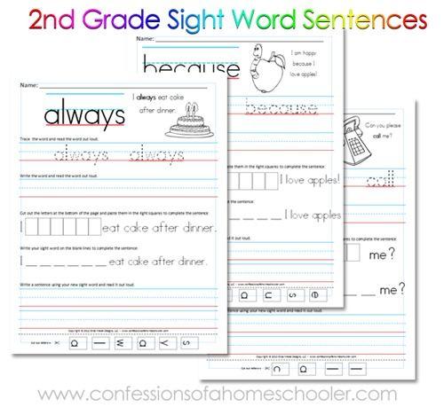 Free 2nd Grade Sight Word Sentences Printables