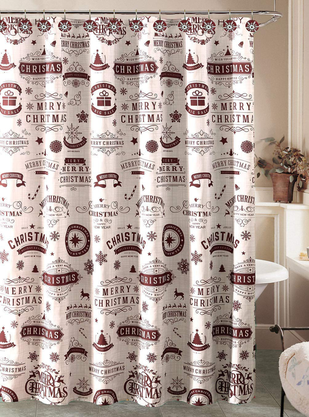 Beatrice Home For Christmas Holiday Shower Curtain And 12 Shower