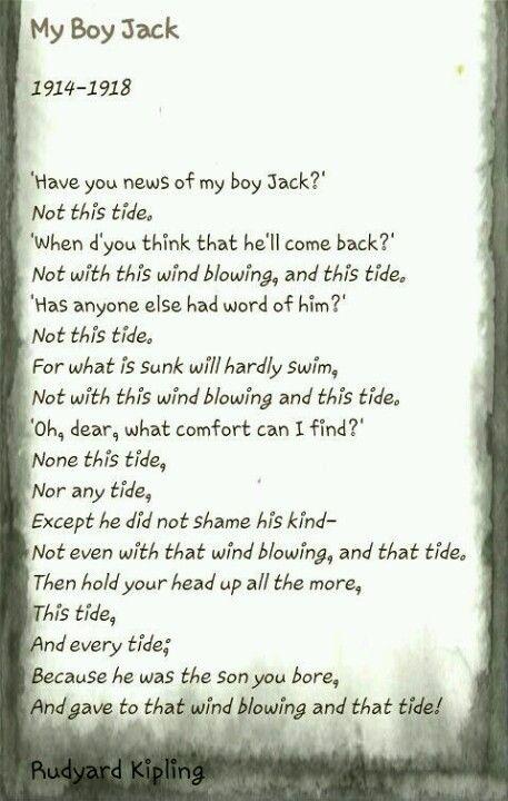 Rudyard Kipling My Boy Jack Poem Edited By Ashley Taylor