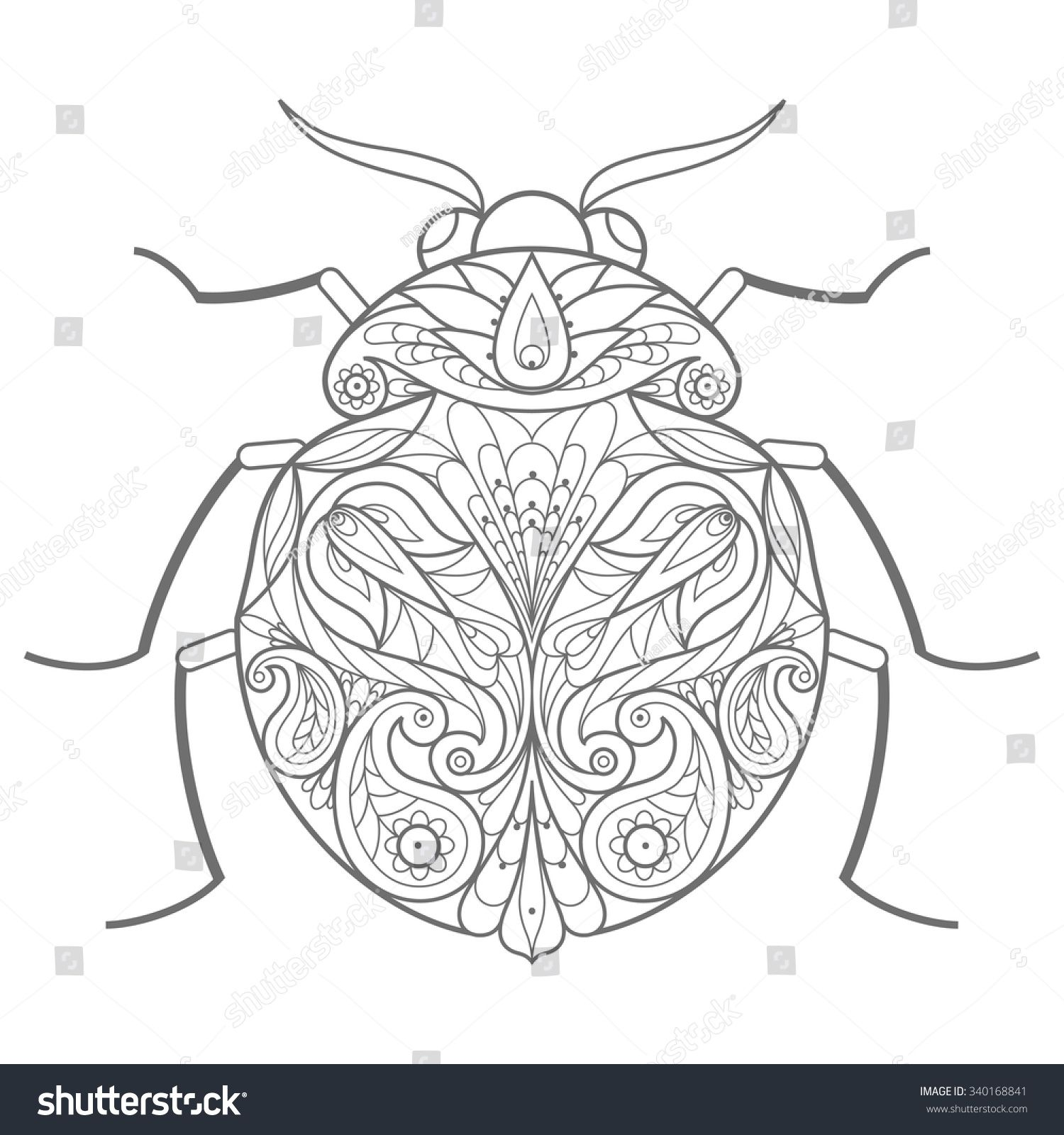 Template for coloring book. Vector decorative beetle.  Insect
