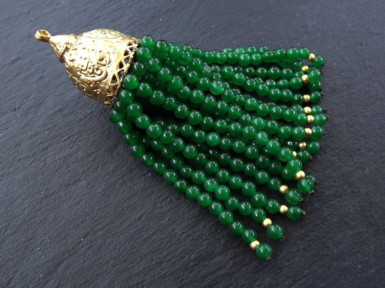 Green Malachite Beaded Tassel Beaded Tassel Necklace Antique Bronze Ornate Tassel Cap with Rhinestones Turkish Tassel Large Beaded Tassel