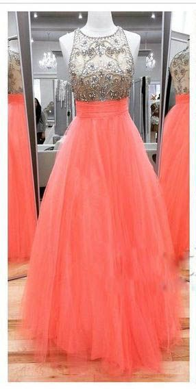 Coral Tulle Prom Dress