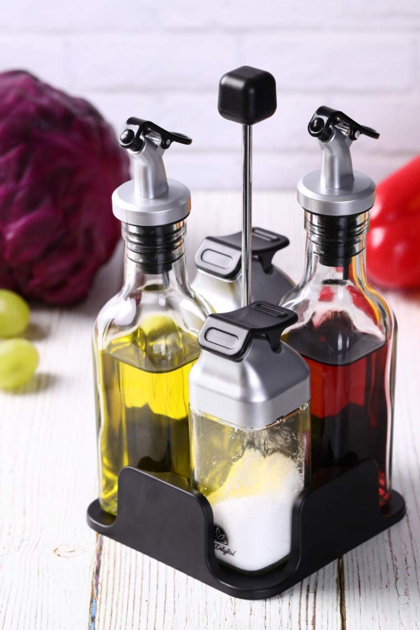Details about  /3 pcs Oil Dispenser Bottles Spouts Plastic Cooking Oil Vinegar Pourer Easy Use