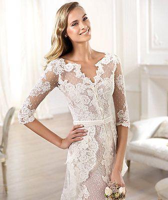 New Arrival Long Sleeved Boho Style Split Beach Lace Wedding Dress Size 6 22 | eBay