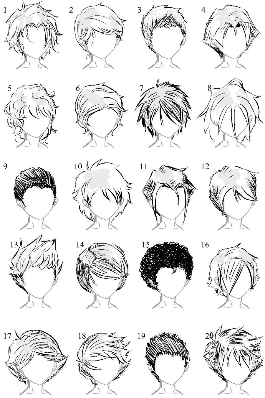 Anime Boy Hairstyles Sketch