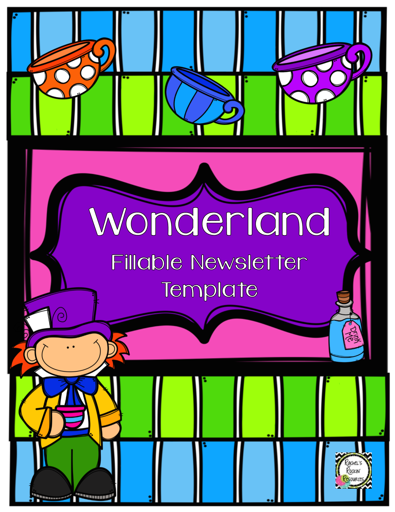 Newsletter Template Fillable Wonderland Teacher Produced
