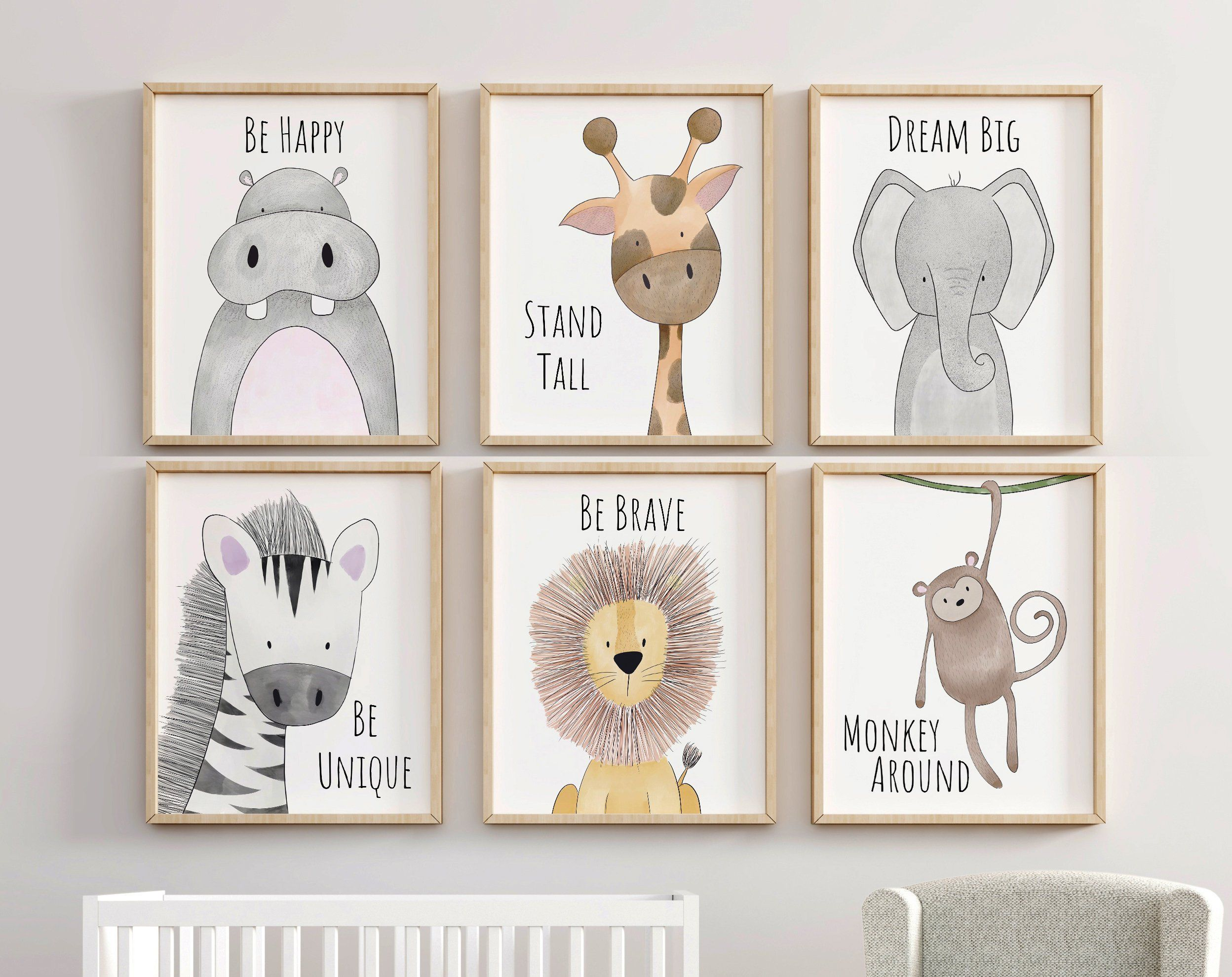 Safari Nursery Decor Set Animal Prints Quote