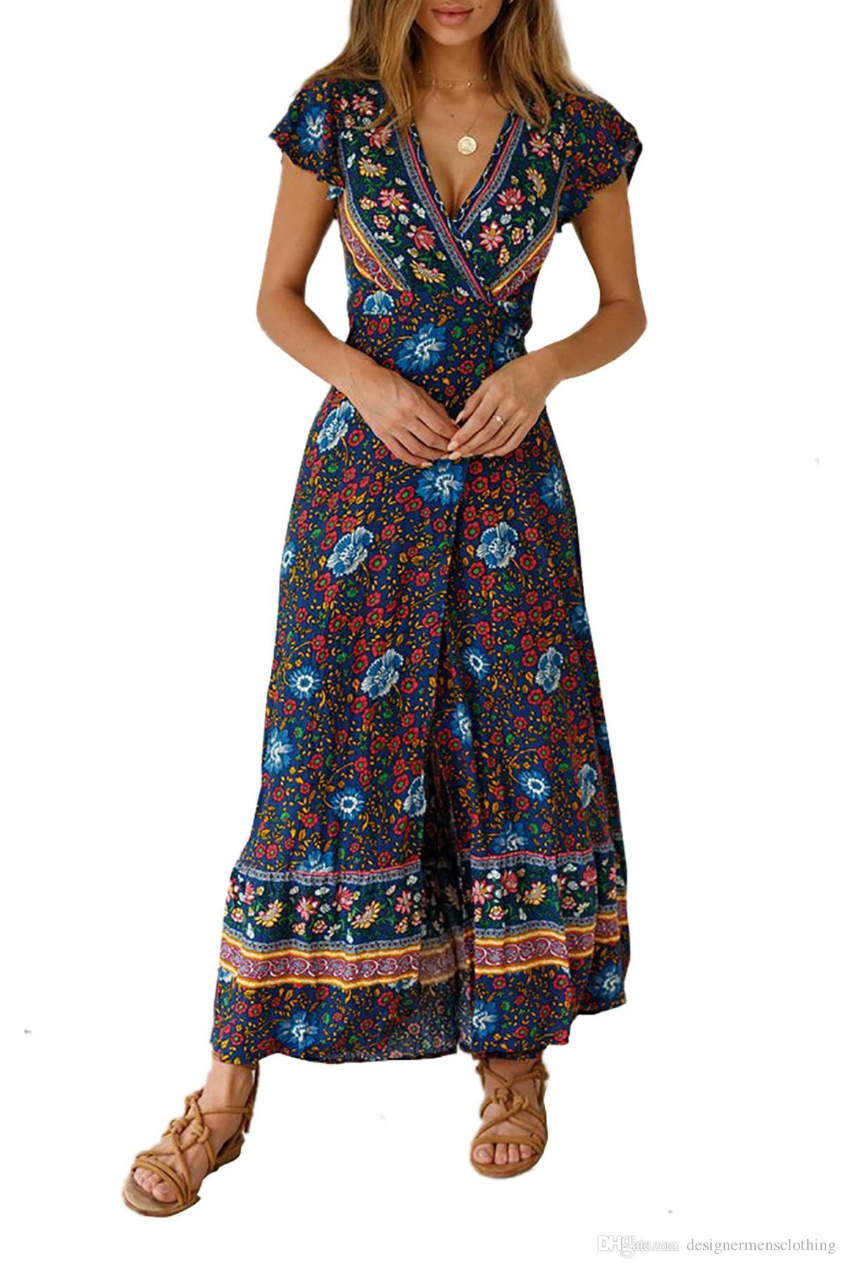 19b26b947d6b2 Summer Long Bohemian Dress for Women Beach Seaside Holiday Boho ...