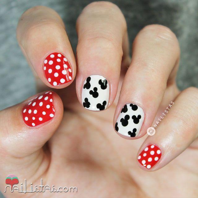 Diseño de uñas fácil y rápido de Mickey Mouse nail art | Nails ...