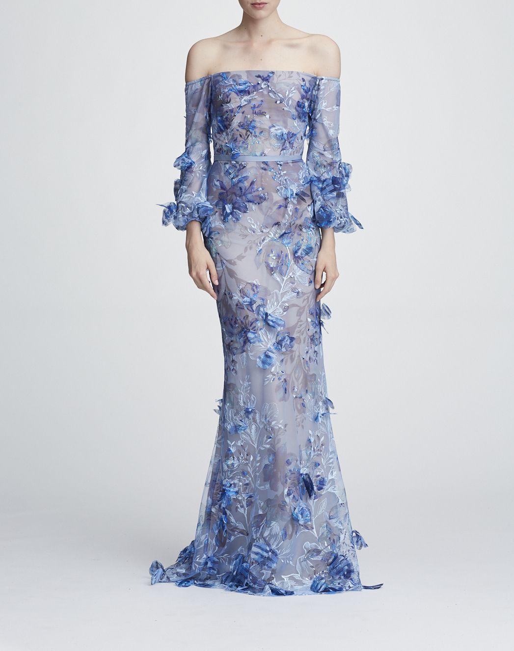 0a8ffdf4f829 Marchesa Notte Off the Shoulder Embroidered Gown N27G0731 Abito Lungo Fino  Ai Piedi