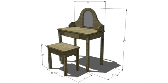 Superior Free DIY Furniture Plans To Build A Land Of Nod Inspired Debutante Vanity  And Bench