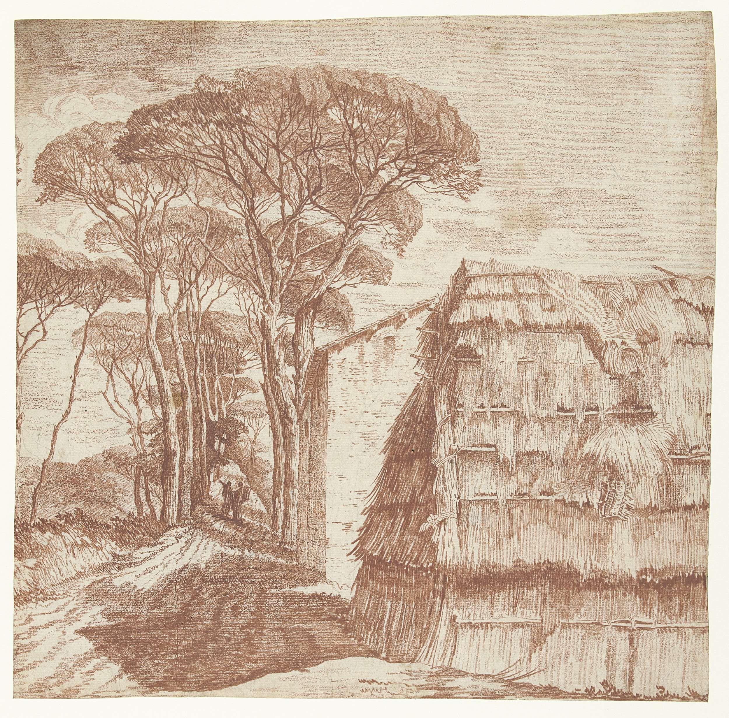 Anonymous   Pijnboomlaantje met huizen en een plaggenhut op de voorgrond, Anonymous, 1700 - 1800  