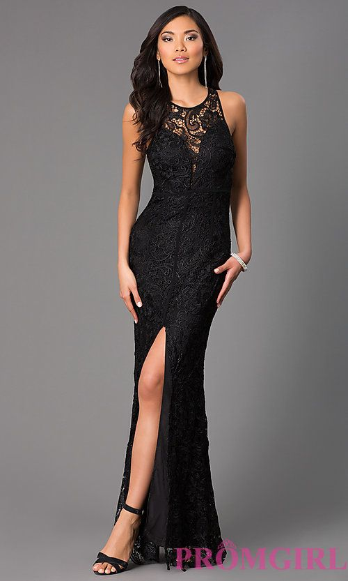 Image of long lace sleeveless dress with slit Style: LP-22888 Front ...