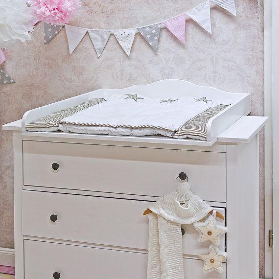 Mooie, kwalitatief hoogwaardige inpakpapier, Wolke 7, luiertafel in wit, voor alle IKEA HEMNES dressoir met een diepte van 50-51 cm (ook voor het