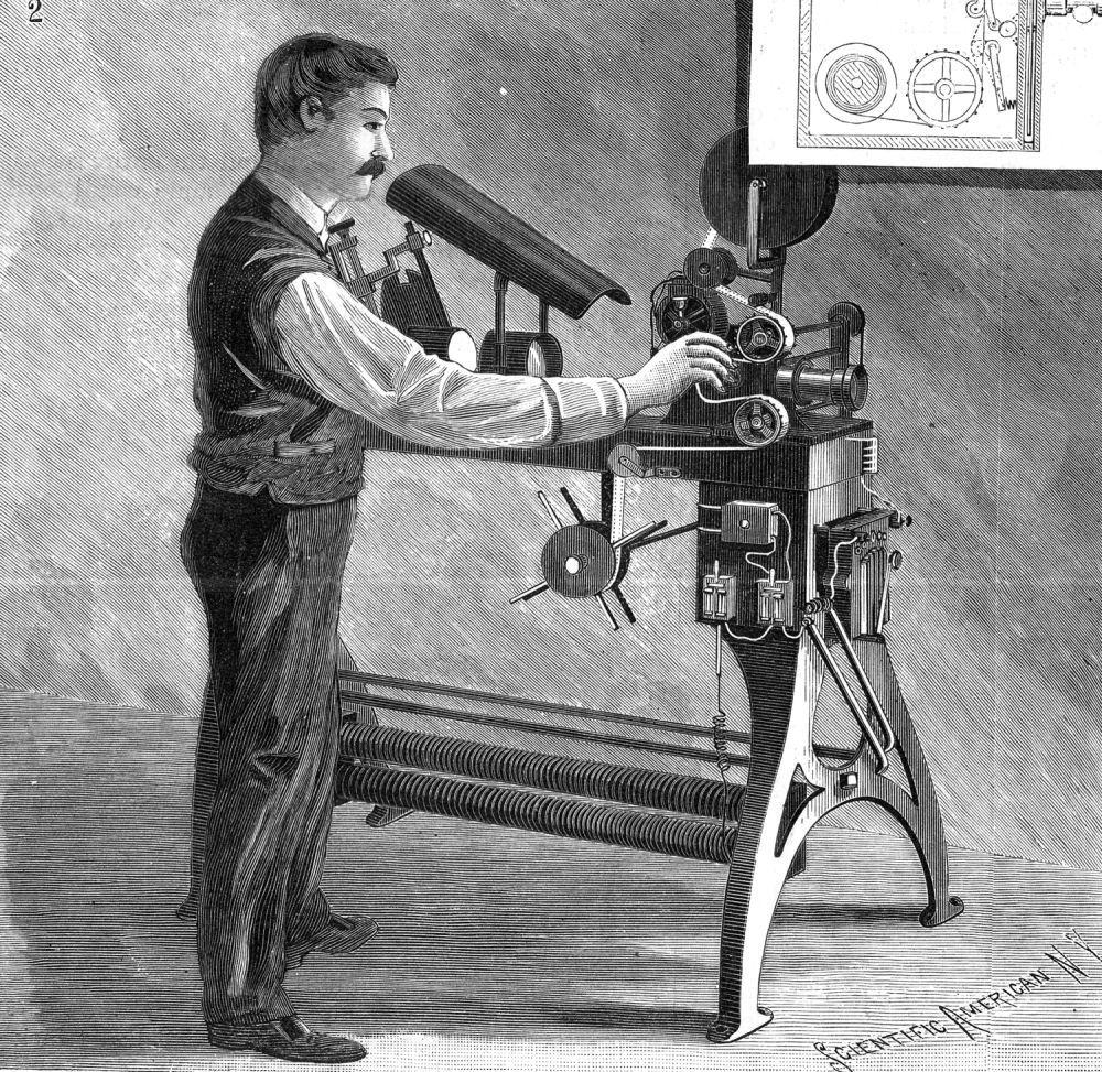 THE KINETOSCOPE STEREOPTICON, Film Machine 1896   Machine-History ... for Kinetoscope Thomas Edison  150ifm