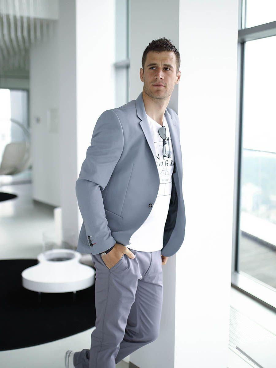 Stylizacja Nr 278 Bransoletka Elegancka Marynarka Koszula Z Dlugim Rekawem Spodnie Chinosy Suit Jacket Chino Trousers Summer Accessories