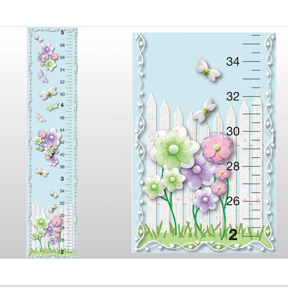 Flower dragonfly bee picket fence growth chart wall decal for kids flower dragonfly bee picket fence growth chart wall decal for kids girls decorative height charts nvjuhfo Gallery