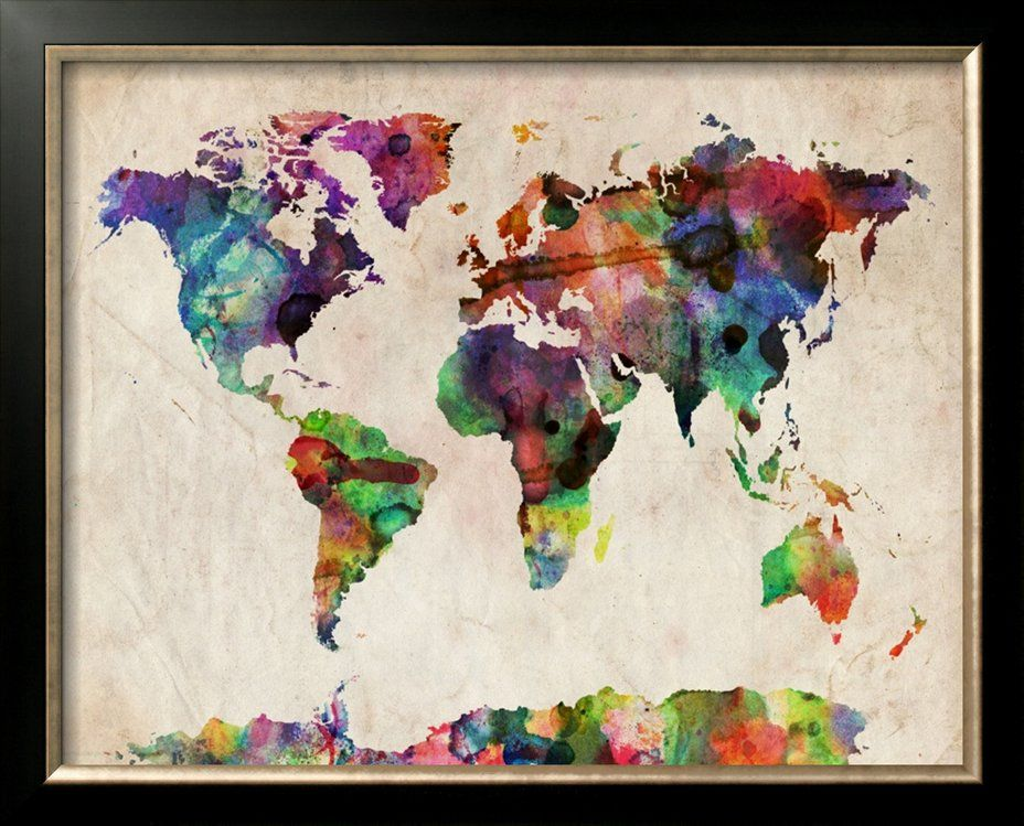 Done on canvas with blue and yellow acrylic paint cut out world map urban watercolor by michael tompsett a map of the world created from watercolor painting and digital manipulation gumiabroncs Images