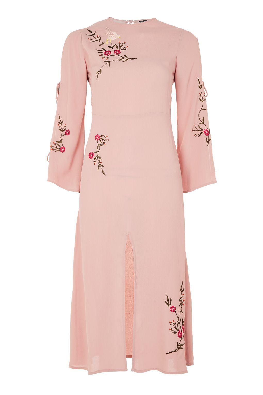 Embroidered Tie Sleeve Midi Dress  Kleider, Bestickte kleidung