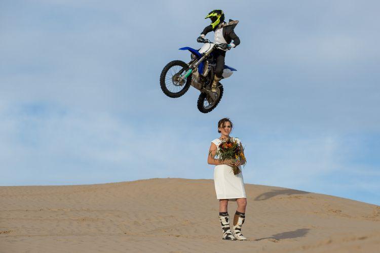 Jumping Dirt Bike Over Bride Motocross Wedding Antler Wedding