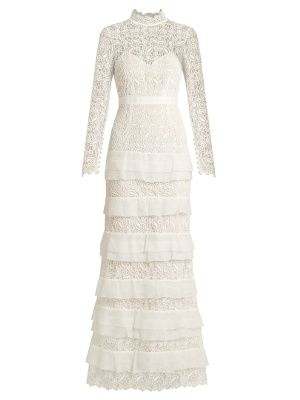 ce6e9e910ddb9 Primrose tiered crepon and guipure-lace gown | Self-portrait |  MATCHESFASHION.COM US