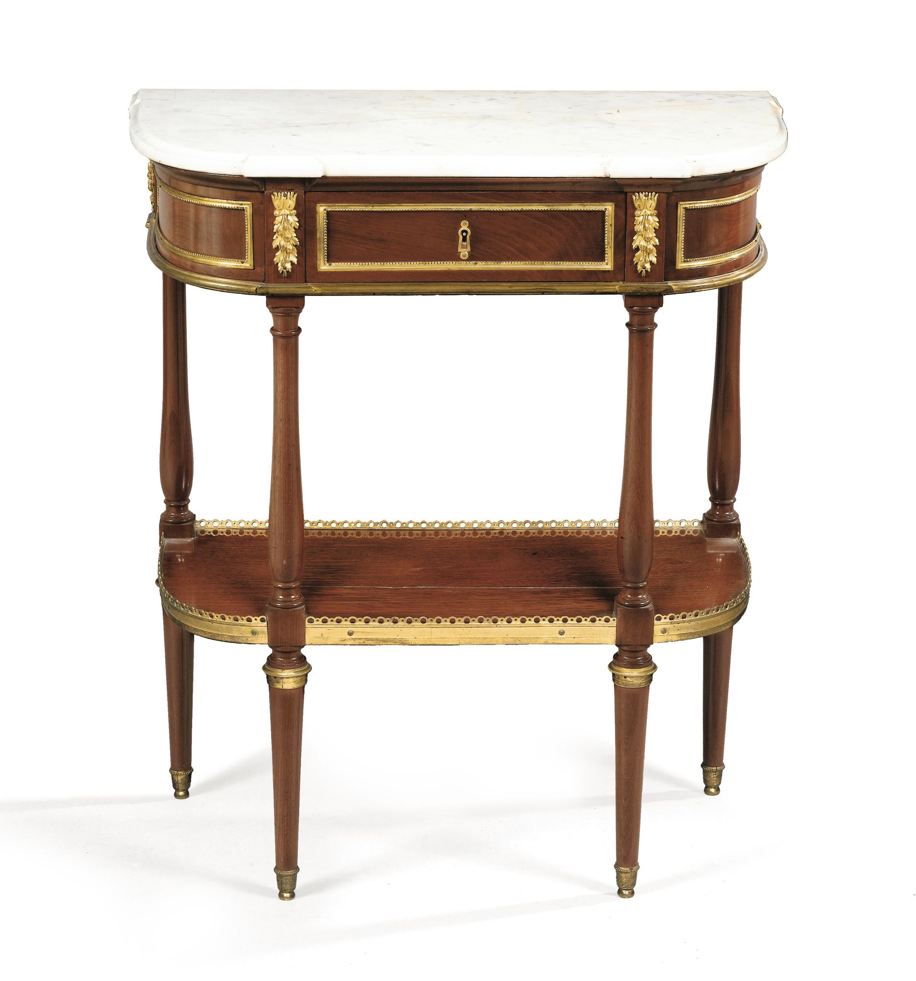 A gilt-bronze mounted mahogany console, Louis XVI, stamped M.CARLIN ...