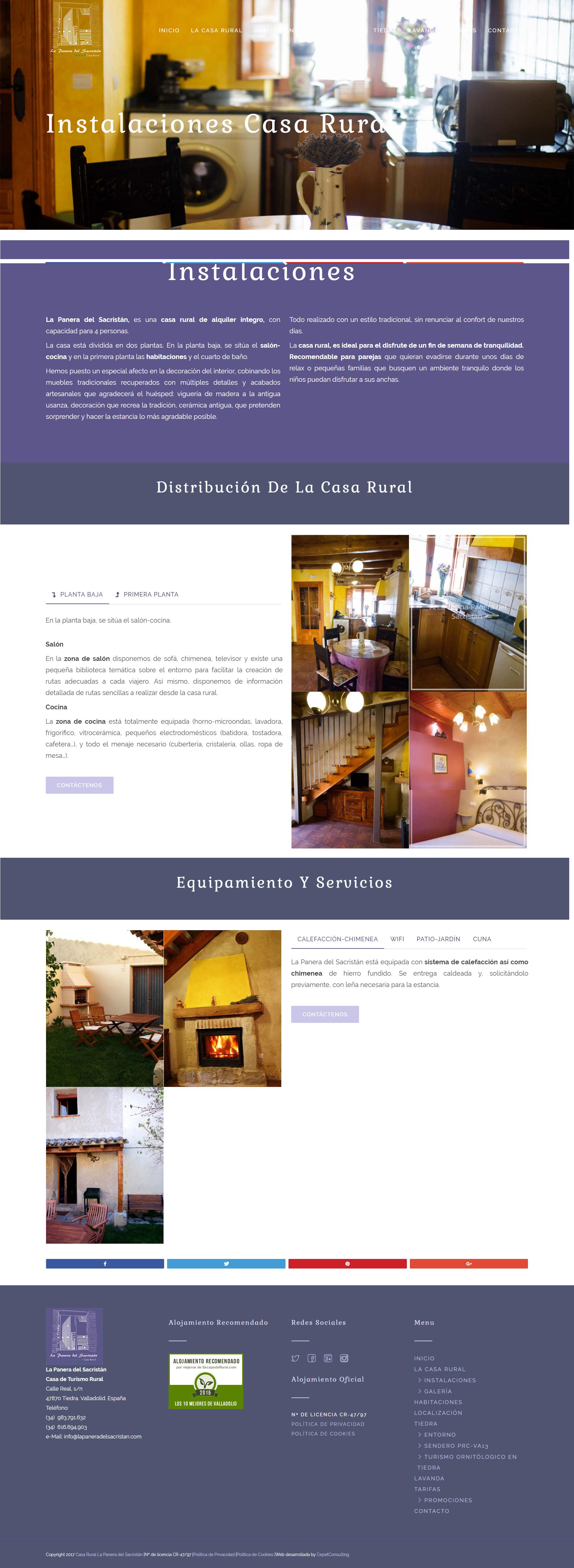 Página web áreas casa rural